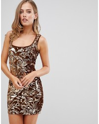 Flounce London Sequin Mini Dress In Gold Pattern