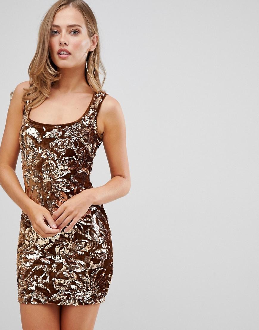 Flounce London Sequin Mini Dress In Gold Pattern