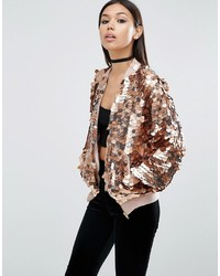 Asos Bomber Jacket In Metallic Disc Sequins