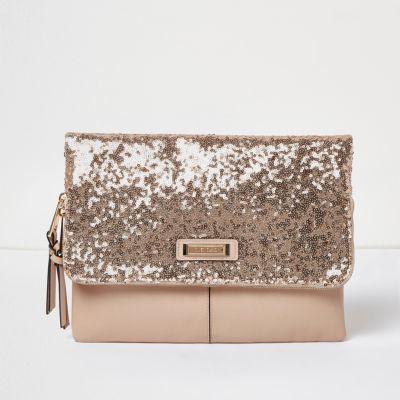 Rose Gold Sequin Fold Over Clutch Bag