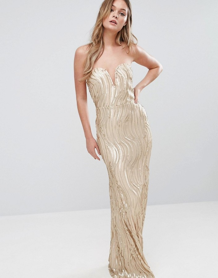 29c7425b ... Gold Sequin Evening Dresses TFNC Bandeau Maxi Dress In Wave Sequin ...