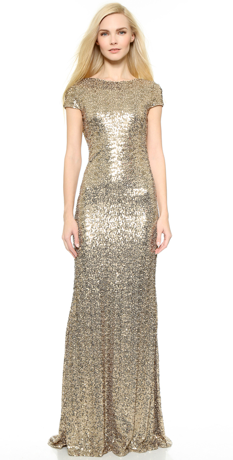 Badgley Mischka Collection Sequin Cowl Back Gown | Where to buy ...