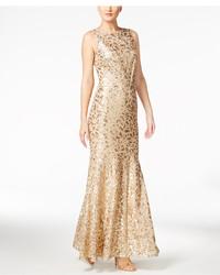 Calvin Klein Fl Sequined Gown