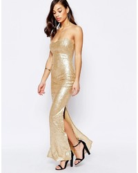 f9499afed47 ... Lipstick Boutique Petite Bandeau Maxi Dress In Sequins ...