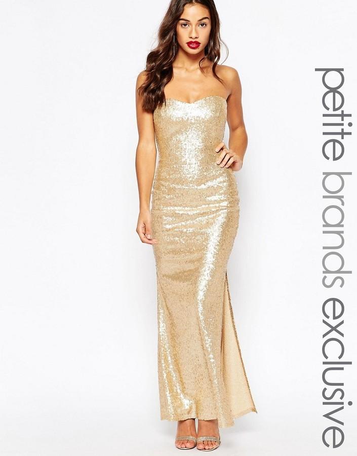 285ad20d25f ... Lipstick Boutique Petite Sequin Bandeau Maxi Dress ...