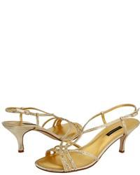 Gold Sequin Heeled Sandals