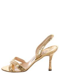 Manolo Blahnik Embellished Slingback Sandals