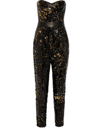 Leather trimmed sequined tulle jumpsuit medium 378442