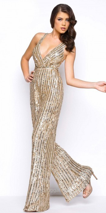 ef0393687d ... Gold Sequin Jumpsuits Mac Duggal Semi Fitted Sequin Wide Leg Jumpsuit  ...