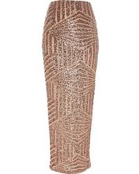 Bronze sequin maxi skirt medium 108299