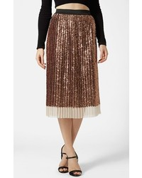 Gold Sequin Midi Skirt