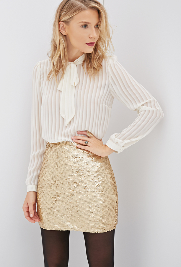 Mini Skirts Forever 21 Contemporary Sequined Bodycon Skirt