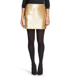 Rj Couture Sequin Mini Skirt Gold Rj Couture