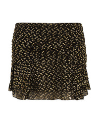Saint Laurent Ruched Metallic Fil Coup Chiffon Mini Skirt