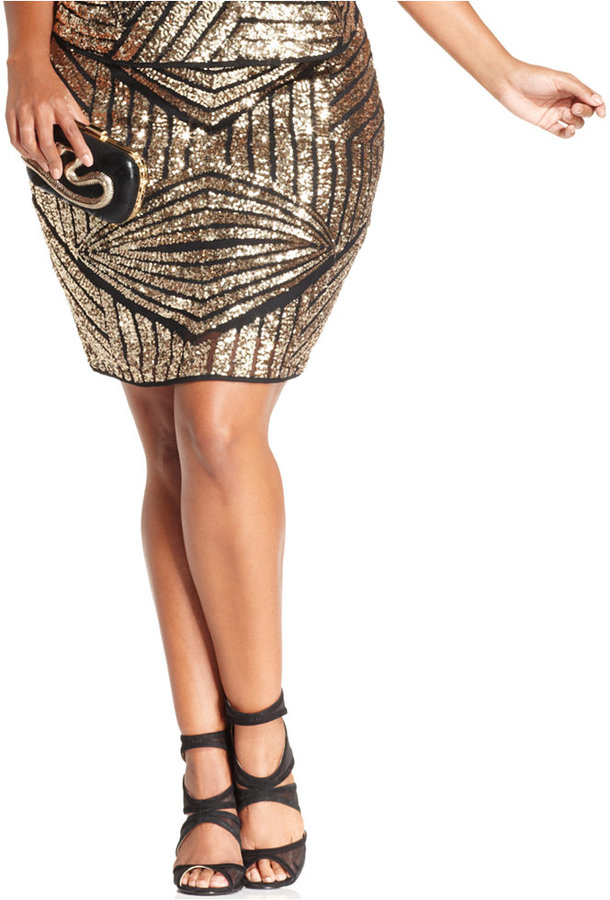 Soprano Plus Size Sequined Pencil Skirt | Where to buy & how to wear