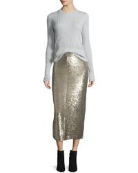 IRO Bump Sequin Midi Skirt Gold