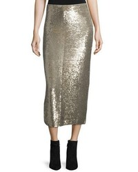 IRO Bump Sequin Midi Skirt Gold