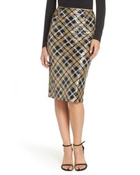 Eliza J Sequin Plaid Pencil Skirt