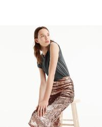 J.Crew Tall Rose Gold Sequin Skirt