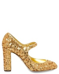 Dolce & Gabbana Block Heel Sequin Pumps