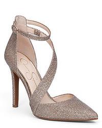 Jessica Simpson Castana Glitter Mesh Dorsay Pointed Toe Pumps