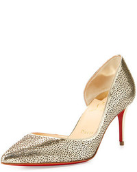 Christian Louboutin Galu Half Dorsay 70mm Red Sole Pump Light Goldivory