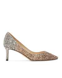 Jimmy Choo Gold And Gold Degrade Glitter Romy 60 Heels