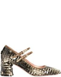 Rochas 60mm Sequined Metallic Leather Pumps