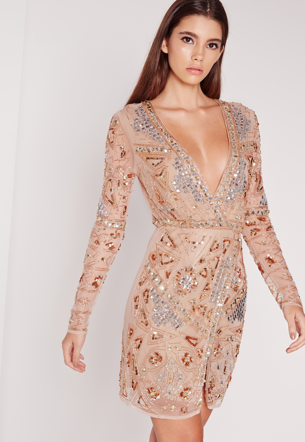 3c76891a1bf5 ... Missguided Premium Long Sleeve Sequin Embellished Wrap Mini Dress Gold