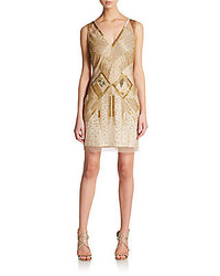 Aidan Mattox Beaded Sleeveless Deco Dress