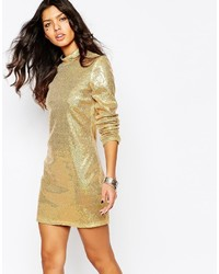 Jaded London Sequin Mini Dress With High Neck Long Sleeves