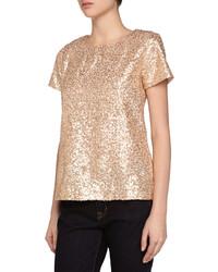 Gold Sequin Short Sleeve Blouse