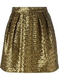 Gold Sequin Skater Skirt