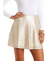 Charlotte Russe Scalloped Sequin Skater Skirt