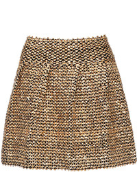 Gold Sequined Skater Skirt