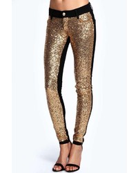 Boohoo Jennie Sequin Front Treggings