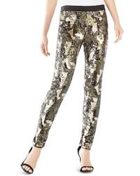 BCBGMAXAZRIA Dena Camo Print Sequin Pants