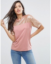 Asos T Shirt With Sequin Yoke In Boxy Fit