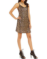 GB Sequin V Back Slip Shift Dress