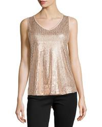 Sequin mesh v neck tank blush medium 155956