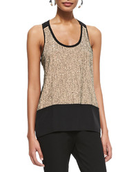 Eileen Fisher Sequined Rivulet Silk Tank Petite