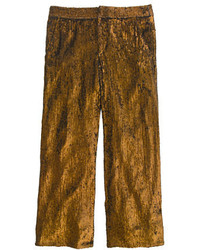 J.Crew Collection Cropped Wide Leg Trouser In Sequin