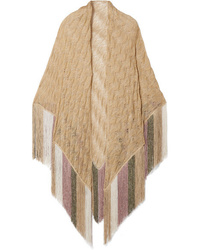 Missoni Fringed Crochet Knit Lurex Wrap
