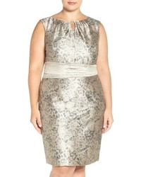 Plus size metallic jacquard sheath dress medium 817297
