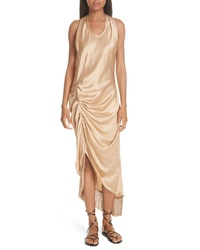 Helmut Lang Asymmetrical Fringe Draped Dress