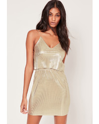 Missguided Layered Pleated Shift Dress Gold