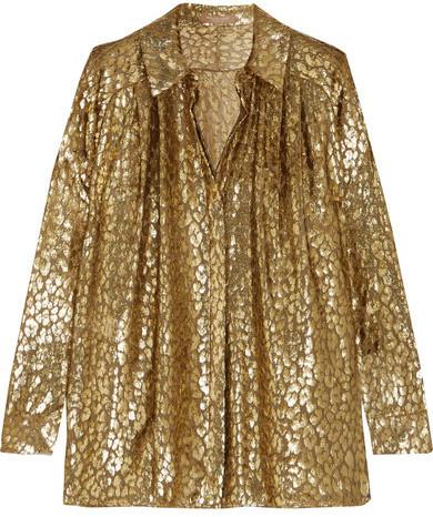 Michael Kors Michl Kors Collection Metallic Fil Coup Organza Shirt Gold