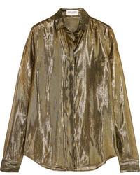 Saint Laurent Metallic Silk Blend Lam Shirt Gold