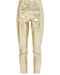Topshop Moto Gold Vinyl Jamie Jeans