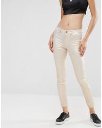 Vila Cropped Metallic Skinny Jeans